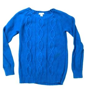 Girls blue/turquoise cabled sweater